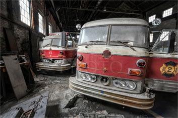 photograph of old firetrucks