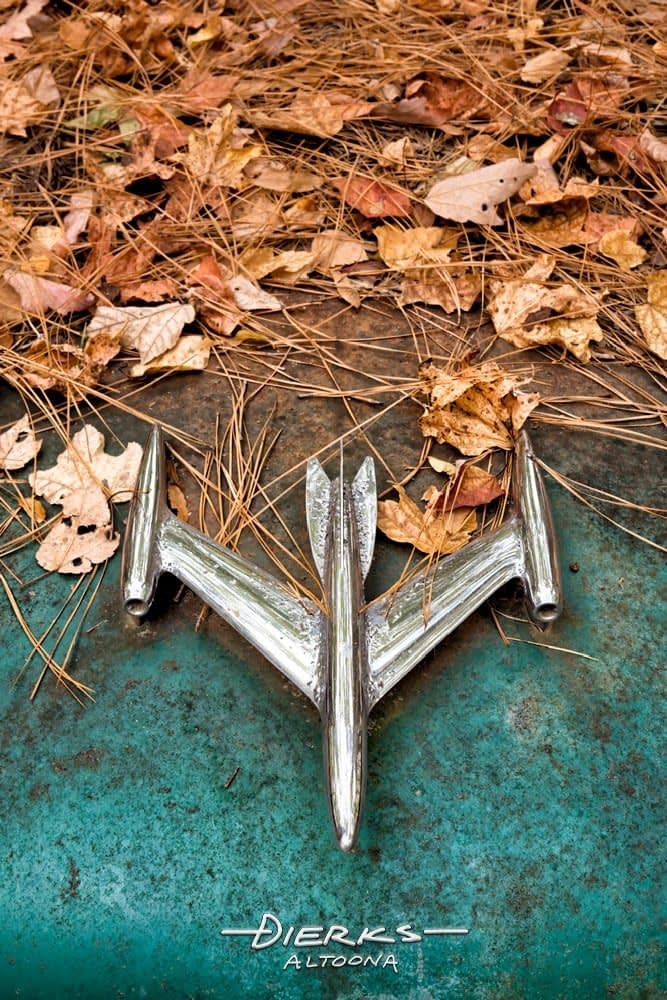 An Oldsmobile silver jet hood ornament nearly covered in fallen leaves in an old junkyard.