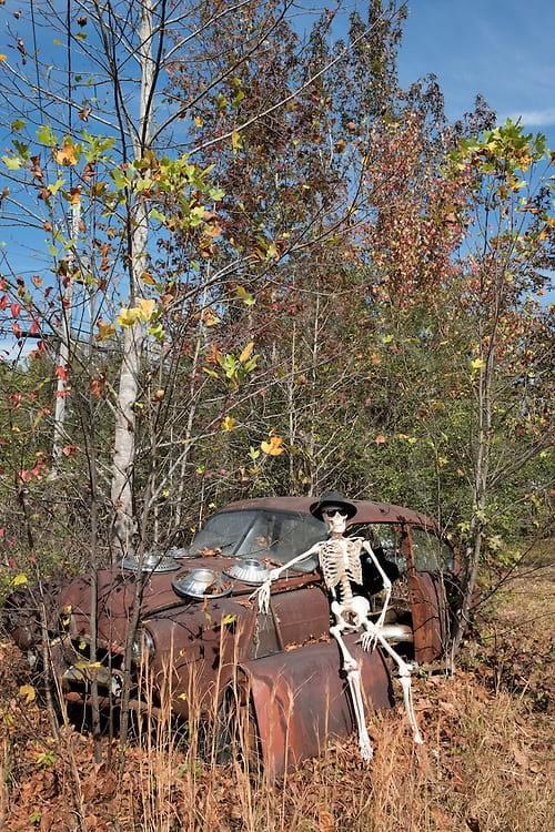 A little skeleton humor: a skeleton suntanning on a junkyard car while taking a break in the afterlife.
