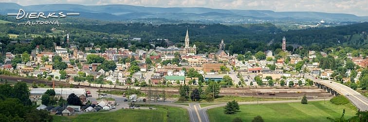 Hollidaysburg PA panorama in a summer view taken from Chimney Rocks overlook above town.