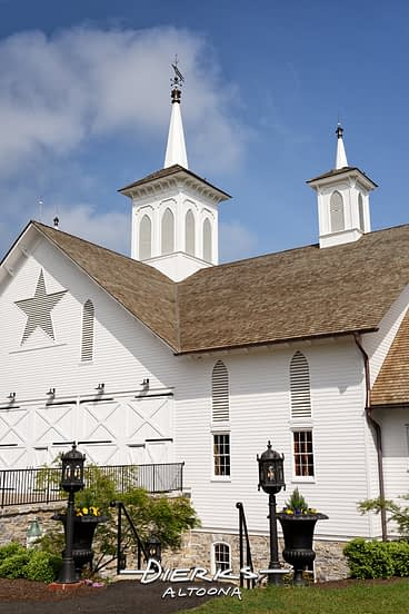 The rebuilt Star Barn, a Pennsylvania landmark with its signature cupola spires.