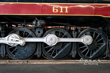 Drive wheels and main rod on Norfolk and Western #611 J Class steam locomotive at Roanoke's Virginia Transportation Museum.