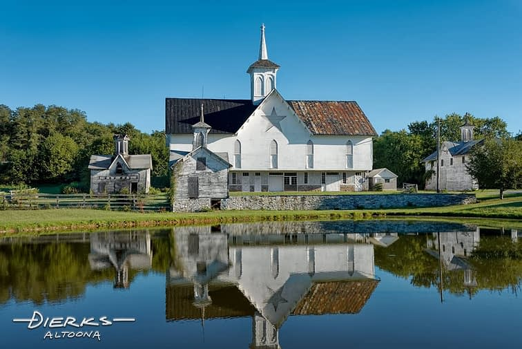The Victorian era Star Barn and reflecting pond in rural Pennsylvania.