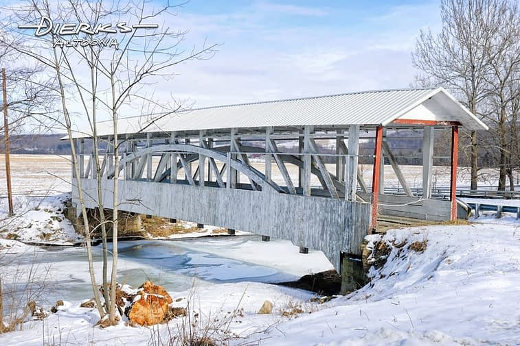 Bowser covered bridge in snow near Osterburg in Bedford County, PA.
