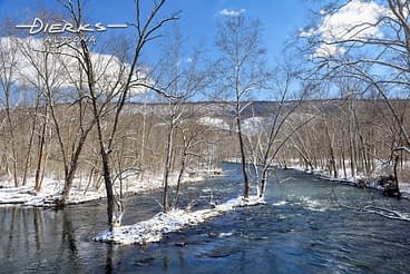 The Juniata River in Pennsylvania in snow and sun.