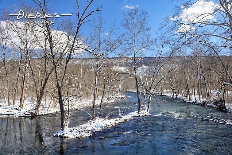 The Juniata River in Pennsylvania in snow and sun.